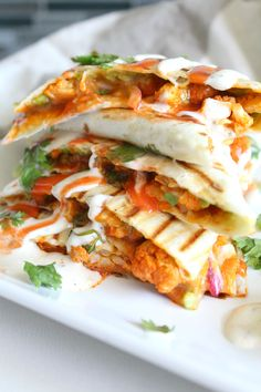 Spice up your next lunch with thisVegan Buffalo Cauliflower Quesadillas. A creamy, spicy combo of marinated cauliflower, vegan ranch and buffalo sauce.