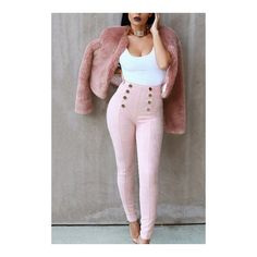 Yoins Pink Suede Button Embellished Pants (31 AUD) ❤ liked on Polyvore featuring pants, brown trousers, loose fit pants, faux-leather pants, loose pants and loose fitting pants