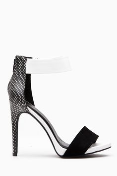 Black White Faux Leather Ankle Strap Heels @ Cicihot Heel Shoes online store sales:Stiletto Heel Shoes,High Heel Pumps,Womens High Heel Shoes,Prom Shoes,Summer Shoes,Spring Shoes,Spool Heel,Womens Dress Shoes
