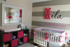 like that grey striped wall w/ the black and pink