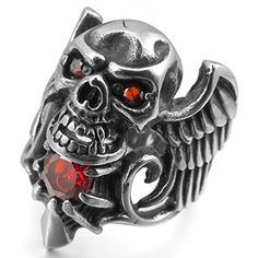 JBlue Jewelry Men's Stainless Steel Ring CZ Silver Black Red Angel Wing Skull Gothic (with Gift Bag) Red Angel Wings, Men's Jewelry Rings, Jewelery, Steampunk Belt, Meteorite Wedding Band, Mens Stainless Steel Rings, Skull Rings, Steampunk Accessories, Black Onyx Ring
