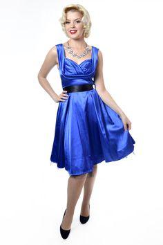 Little Wings Factory - Marilyn Satin Royal Blue Dress 2ba0ac2e36