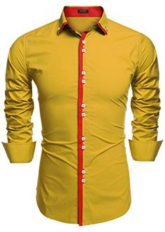 YYear Mens Regular Fit Button Up Long Sleeve Solid Embroidery Dress Work Shirt