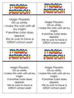 """The poem reads """"Magic Playdough, oh so white, I make this wish with all my might.  If another color does appear.  We're sure to have a GREAT school year.""""  Basically, you make your own homemade flour playdough recipe (or head to Fun in First for the included recipe).  Leave it white, but in each portion, add a drop or 2 of food coloring to the middle, but DON'T knead it.  When the student pulls out their playdough and begins to play with it, they will see it change color."""