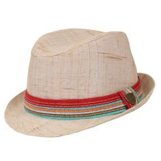 FORE Natural Linen Fedora with Multicolor Band. Caramel linen fedora with colorful striped band for boys 0-2 years fits most children ideally from 6 months - 2 years 0-2 years is approx. 20 inches 2-4 years is approx. 22 inches. See More Hats at http://www.ourgreatshop.com/Hats-C198.aspx
