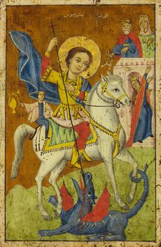 ru~~Detailed view: Saint George and the Dragon- exhibited at the Temple Gallery, specialists in Russian icons Catholic Saints, Patron Saints, Saint George And The Dragon, Russian Icons, Byzantine Icons, Art Icon, Orthodox Icons, Medieval Art, St Michael