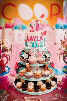 Jungle Glam Wild Animals cupcake/cake tower