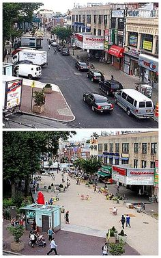 Corona Plaza, Queens, NYC was redesigned as a pedestrian-friendly space in 2012. Click to tweet via @slowottawa and visit our boards >> http://www.pinterest.com/slowottawa/boards/