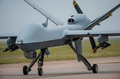 An MQ-9 Reaper on the runway during an air show demonstration May 29, 2016, at Cannon Air Force Base, N.M. The air show highlights the unique capabilities and qualities of Cannon's air commandos and also celebrates the long-standing relationship between the 27th Special Operations Wing and the local community.  (U.S. Air Force photo/Master Sgt. Dennis J. Henry Jr.)