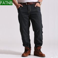 Brand men jeans loose plus size 5XL straight classic casual business true jean high quality free shipping  size from XL-5XL