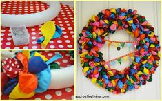 DIY Party Balloon Wreath! You'll need a styrofoam wreath, pins, and balloons! Pin them randomly to create a fun and cool birthday party wreath!