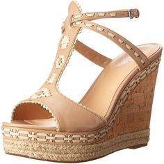 Belle by Sigerson Morrison Women's Aivi Wedge Sandal ($89) ❤ liked on Polyvore featuring shoes, sandals, strappy sandals, ankle wrap sandals, espadrille wedge sandals, strappy wedge sandals and strap sandals