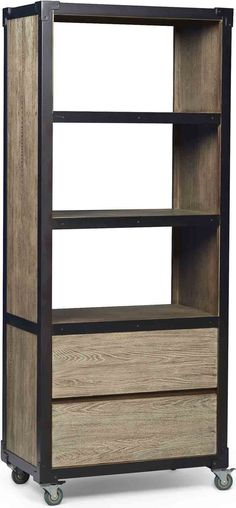 Furniture Epicenters Austin Copperfield Bookcase offers versatile industrial/rustic look while housing and displaying. High Quality Furniture, Art Furniture, Rustic Industrial, Bookcase, Shelves, Home Decor, Products, Shelving, Shelving Racks
