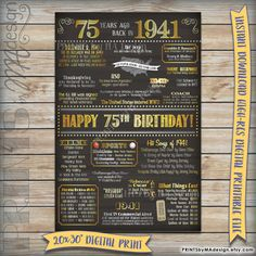 75th Birthday 1941 Sign, Instant Download Digital Printable File, 75 Years Ago Born in 1941 USA Events, 75th Birthday Gift Chalkboard Poster
