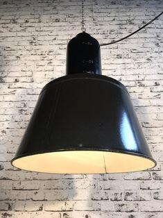 Black Enamel Factory Lamp Industrial Lamps, Black Enamel, Ceiling Lights, Lighting, Home Decor, Black Polish, Decoration Home, Light Fixtures, Room Decor
