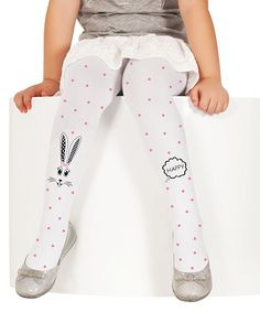 White & Pink Polka Dot Rabbit Tights - Infant Toddler & Girls