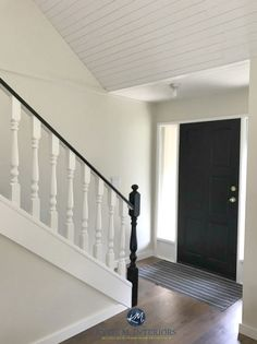 Benjamin Moore Ballet White with painted black front door and black and white railing on stairs. Kylie M Interiors E-design and ONline Colour Consulting Grey Front Doors, Painted Front Doors, Painted Stairs, Black Doors, White Doors, White Paint Colors, Paint Colors For Home, White Paints, Neutral Paint