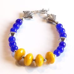 BLUE & GOLD Women's stackable bracelet, stacking bracelet, statement…