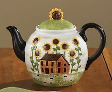 House & Sunflowers Teapot by Park Designs, Ceramic, Country Design, 52 ozs.