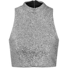 TOPSHOP **Metallic Silver Tinsel High Neck Crop Top by Jaded London (£38) ❤ liked on Polyvore featuring tops, silver, crop top, silver metallic top, metallic crop top, holiday party tops and party crop top