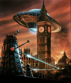 Spectacular cover of the German edition of Doctor Who: Dalek Invasion of Earth novel. Much more exciting than the UK/Australian edition in my opinion. Painted in 1975 by David Hardy.