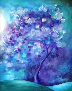 Spring Flower Blossoms - Nature Fantasy Watercolor Painting - Serene Soothing Zen Wall Art