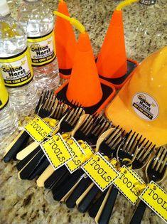 Construction Theme Birthday Party / Handy Manny / Bob the Builder / 4th Birthday / Toddler Birthday / Boy Birthday Party / Tools / Construction Cones / Cone Cups / Construction Cone Cups