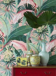 La Palma Coral Palm Tropical Vinyl Wallpaper | Etsy