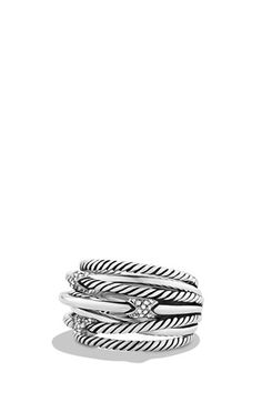 David Yurman 'X - Crossover' Multi Row Ring with Diamonds available at #Nordstrom
