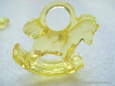 Yellow Acrylic Rocking Horse Charm Baby Shower by berrynicecrafts, £1.50