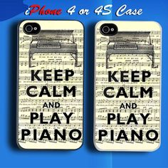 Keep Calm and Playi Piano Custom iPhone 4 or 4S Case Cover