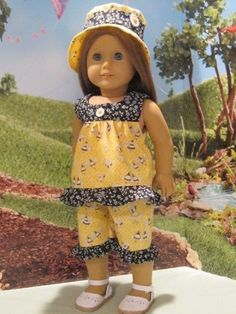 """""""Bee Happy Outfit"""" for Lea, Kit, Molly,Maryellen 18"""" American Girl Doll Clothes #Handmade #DollClothes"""
