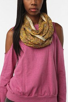 Kimchi Blue Open Weave Floral Scarf