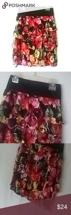 Pretty Flirty Girly Skirt Multi colored floral print ruffle skirt with stretchy waistband in like new condition thattopsit Skirts