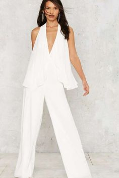 Nasty Gal Cape Bod Plunging Jumpsuit - Rompers + Jumpsuits