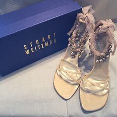 Stuart Weitzman ankle wrap sandal Stuart Weitzman Sand/Tan ankle wrap leather sandal with iridescent sheer & leather wrap straps adorned with beautiful gold circles & gold beads.. NEW IN BOX NEVER WORN..  Stuart Weitzman Shoes Heels