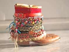 Colorful upcycled boho cowboy boots from TheLookFactory on Etsy