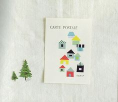 japanese masking tape_tape postcard lots of cute ideas Masking Tape Art, Mt Washi Tape, Washi Tape Cards, Paper Tape, Diy Postcard, Housewarming Card, Tarjetas Diy, Cute Little Houses, Decorative Tape