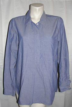 Fleur Bleue Top Womens Sz L Blue Cotton Button Neck Roll Strap LS Pullover Shirt #FleurBleue #Blouse #Casual