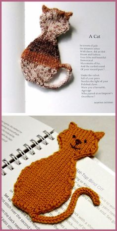 Free Knitting Pattern for Cat Bookmark Easy Knitting, Knitting Patterns Free, Knit Patterns, Stitch Patterns, Free Pattern, Crochet Slippers, Knit Crochet, Crochet Hats, Knitting Projects
