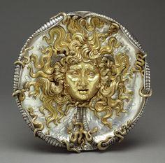 """Medusa"" -- 1911 -- Vincenzo Gemito -- Italian, Naples -- Parcel-gilt silver -- Belonging to the Getty Museum Art Nouveau, Medusa Gorgon, Medusa Head, Turn To Stone, Getty Museum, Ancient Jewelry, Sculpture, Western Art, Oeuvre D'art"