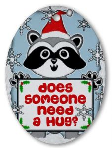 """Christmas Gifts for Him or Her:  Elf """"Does Someone Need a Hug?"""" Ornament @ Cafepress"""