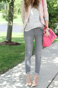 Lilly Style: Pink Blazer + Gray tee + Gray jeans + nude pumps + Hot Pink Bag