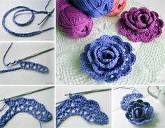 How to make a crochet rose rose diy crochet diy ideas diy crafts do it yourself diy projects Diy Crochet Flowers, Crochet Flower Tutorial, Crochet Diy, Crochet Amigurumi, Knitted Flowers, Crochet Motifs, Crochet Flower Patterns, Irish Crochet, Crochet Crafts