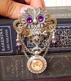 Steampunk Owl Brooch P602  Faux Brass Pocket by DesignsByFriston