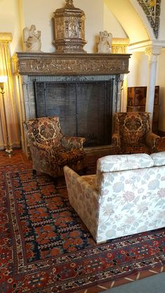 Seating area by fireplace