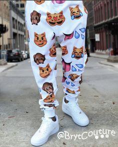 BrytCouture - Men Emoji Sweatpant Joggers - White, US$44.99 (http://www.brytcouture.com/men-emoji-sweatpant-joggers-white/)