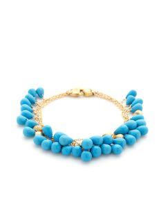 Acapulco Turquoise Briolette Triple Strand Bracelet