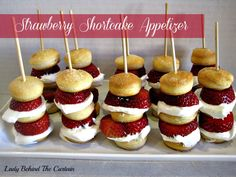 strawberry shortcake appetizers. Would use angel food cake for these
