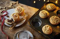 For a new twist on mince pies, this classic mince pie recipe is topped with buttery Viennese whirls. See more Christmas recipes at Tesco Real Food. Xmas Food, Christmas Cooking, Christmas Desserts, Christmas Cupcakes, Christmas Holidays, Key Lime Pie, Pie Recipes, Sweet Recipes, Xmas Recipes